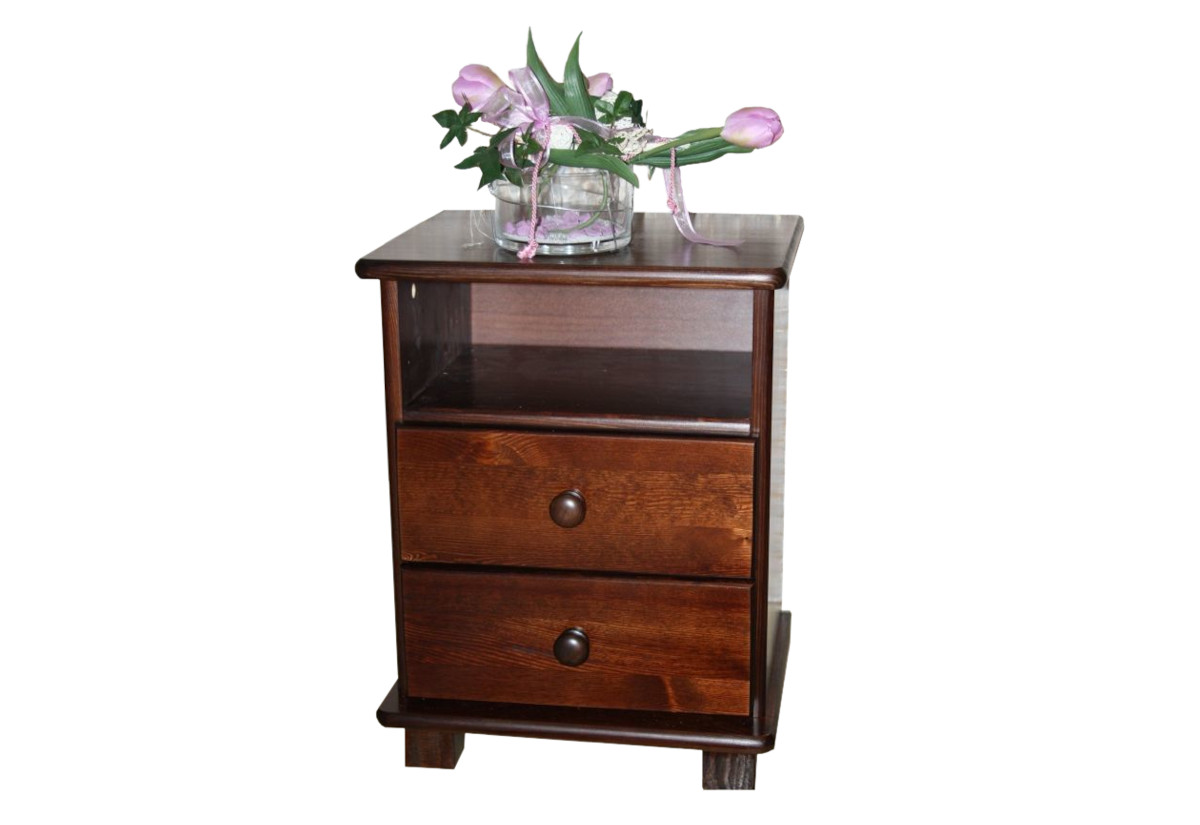 Noční stolek z masivu JULIA, 56x42x35 cm, ořech-lak