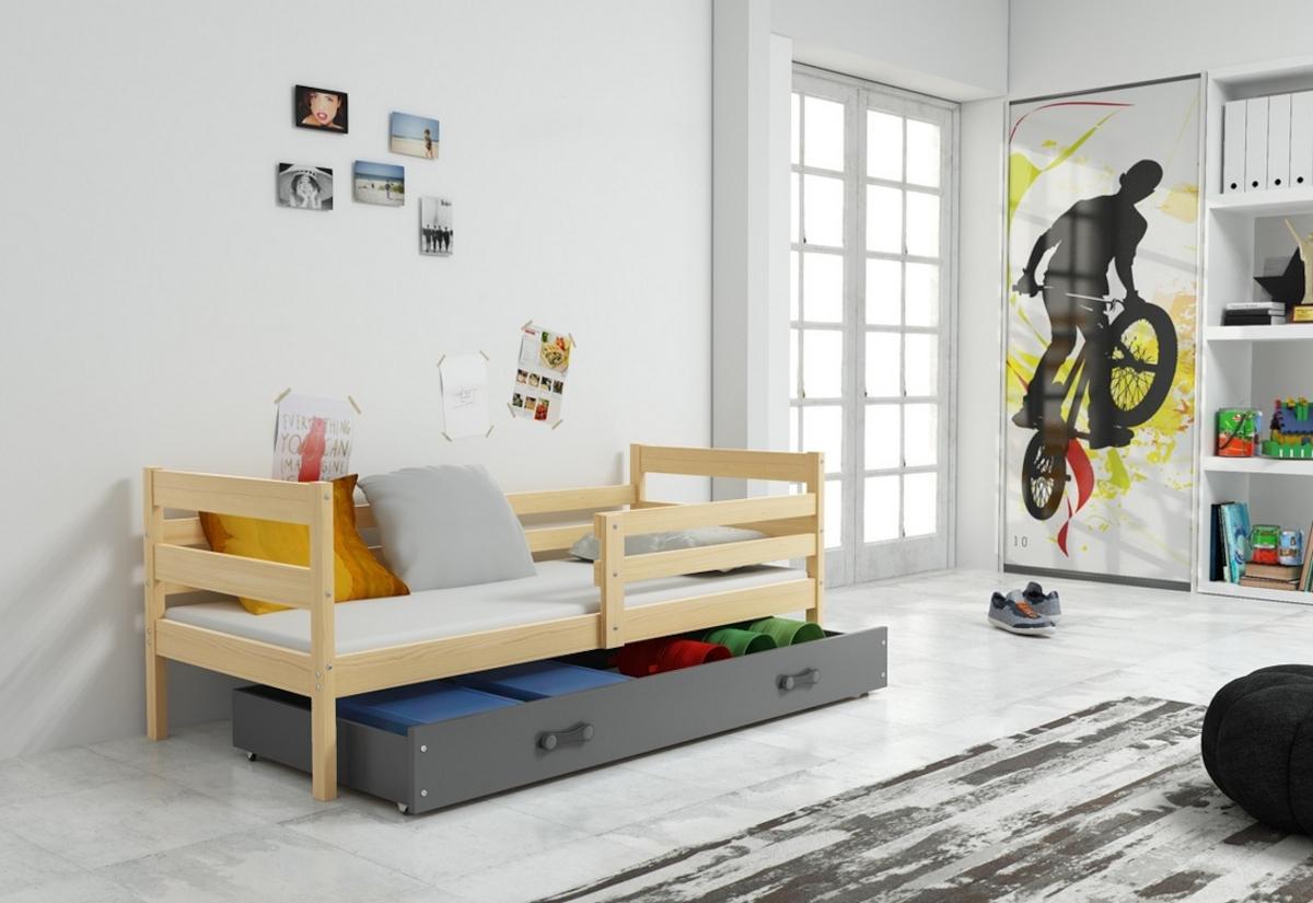 Dětská postel ERIK + ÚP + matrace + rošt ZDARMA, 90x200 cm, borovice, grafit