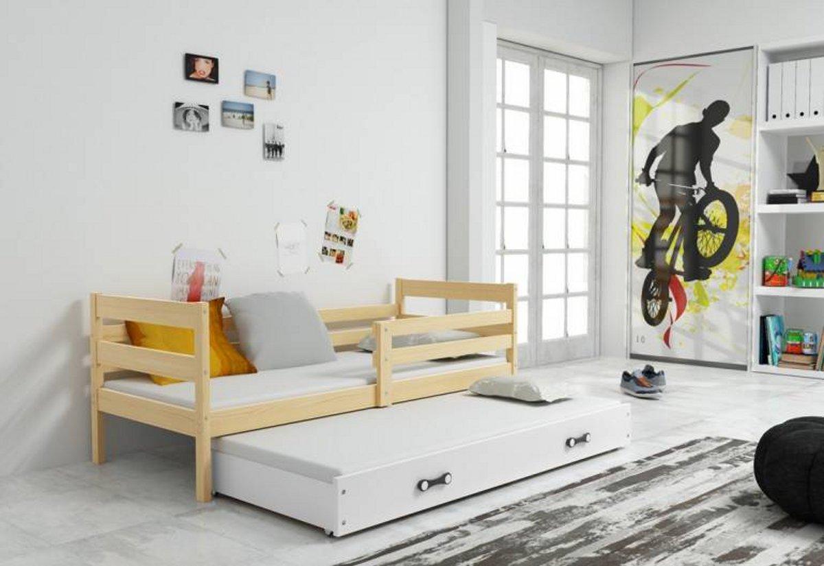 Dětská postel ERIK 2 + matrace + rošt ZDARMA, 90x200 cm, borovice, bílá