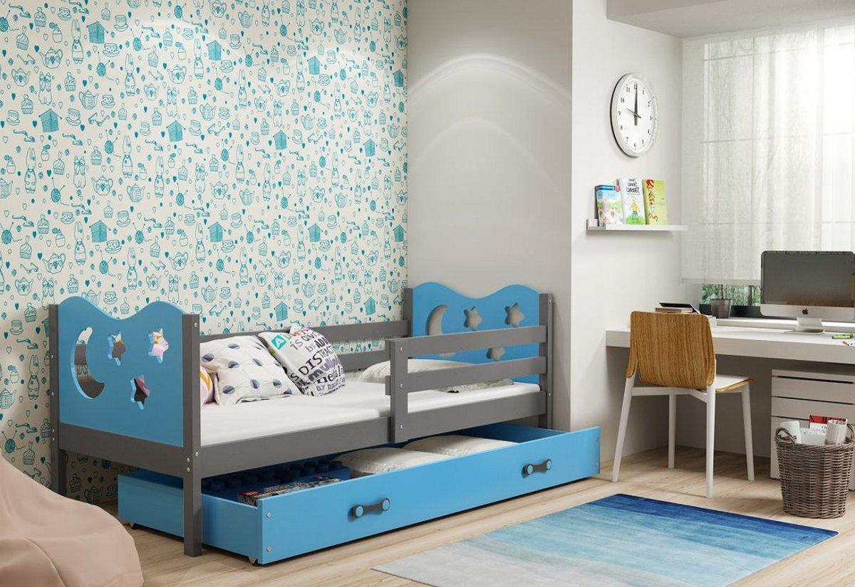 Dětská postel MIKO + ÚP + matrace + rošt ZDARMA, 80x190, grafit, blankytná