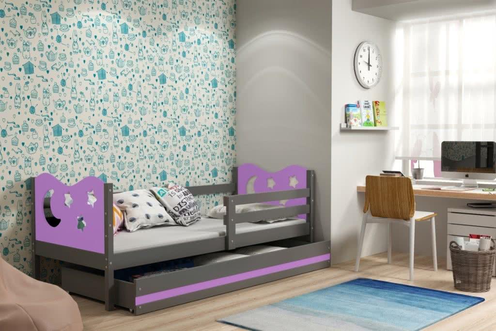 Dětská postel MIKO + ÚP + matrace + rošt ZDARMA, 80x190, grafit, fialová