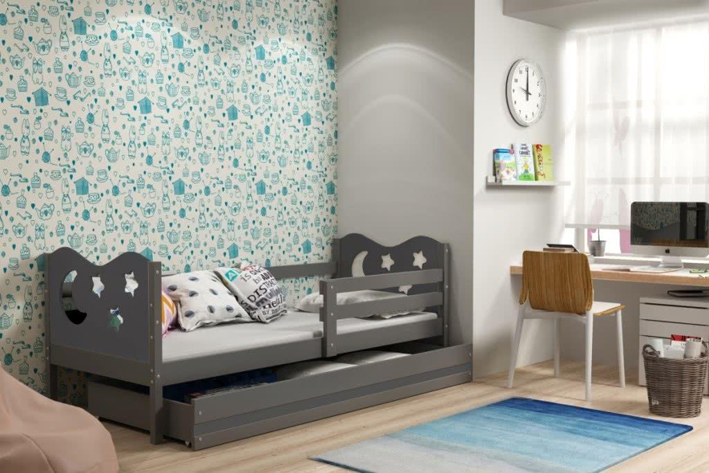 Dětská postel MIKO + ÚP + matrace + rošt ZDARMA, 80x190, grafit, grafitová