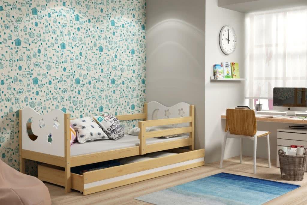 Dětská postel MIKO + ÚP + matrace + rošt ZDARMA, 80x190, borovice, bílá