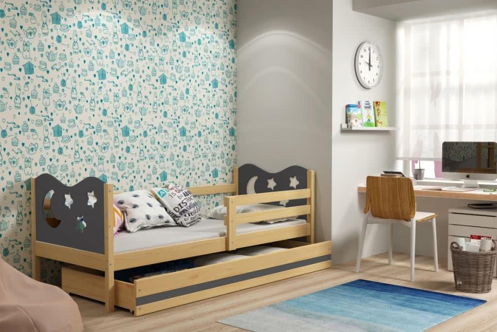 Dětská postel MIKO + ÚP + matrace + rošt ZDARMA, 80x190, borovice, grafitová