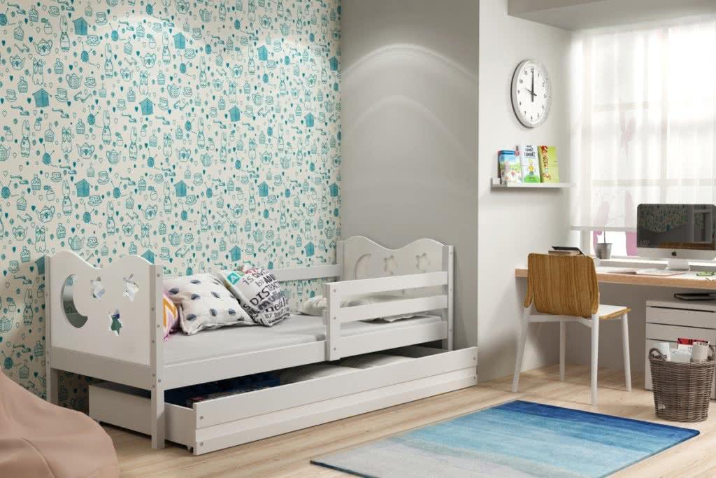 Dětská postel MIKO + ÚP + matrace + rošt ZDARMA, 90x200, bílý, bílá