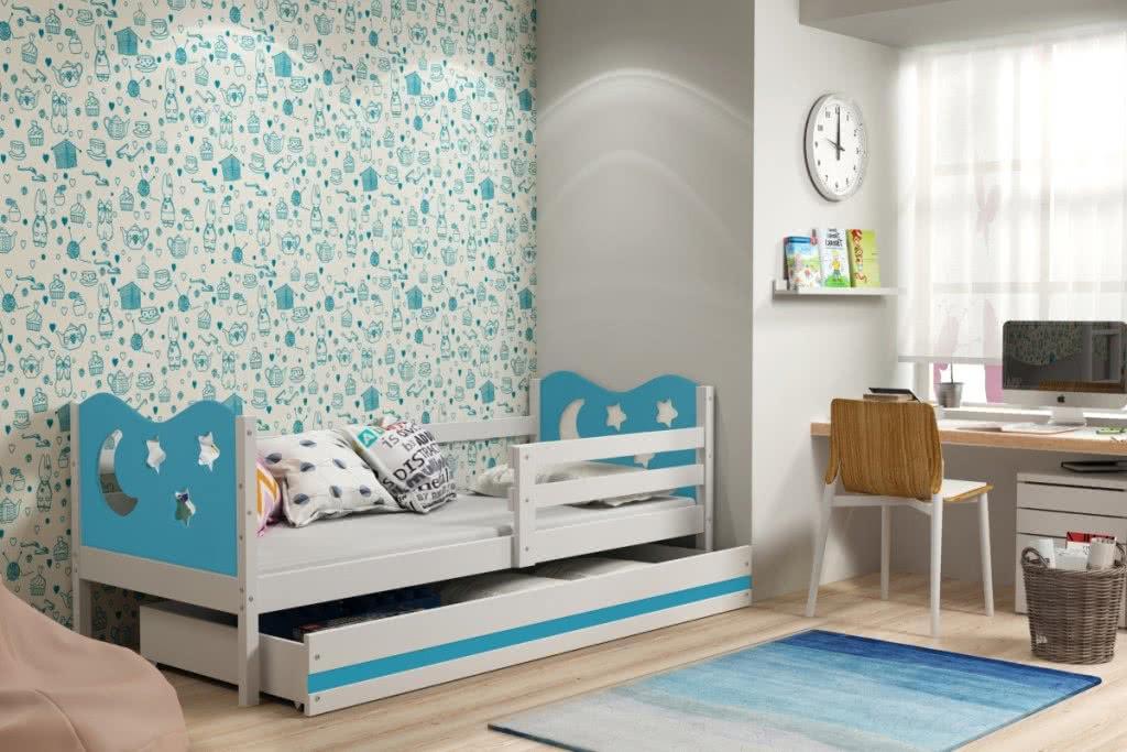 Dětská postel MIKO + ÚP + matrace + rošt ZDARMA, 90x200, bílý, blankytná