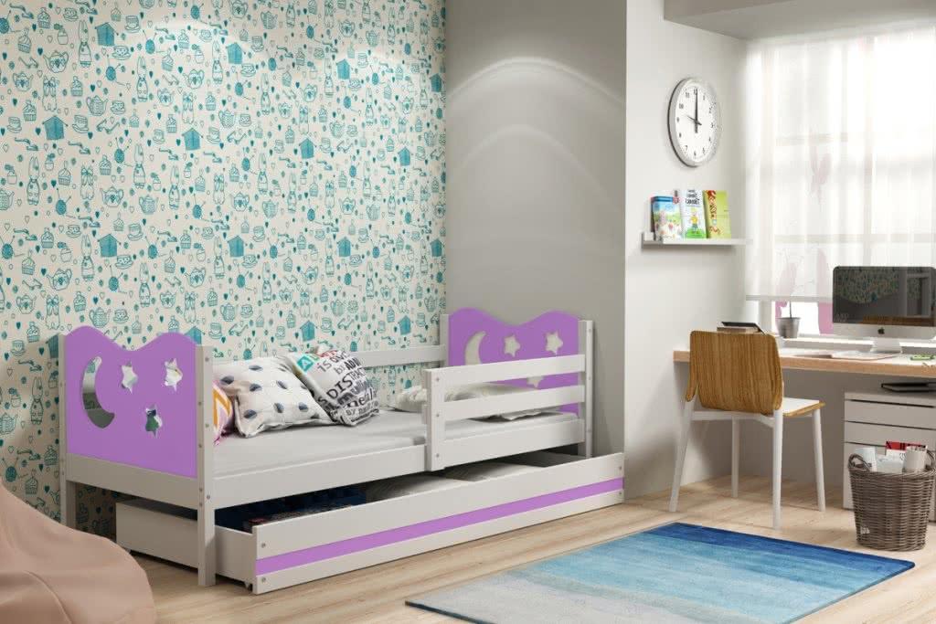 Dětská postel MIKO + ÚP + matrace + rošt ZDARMA, 90x200, bílý, fialová