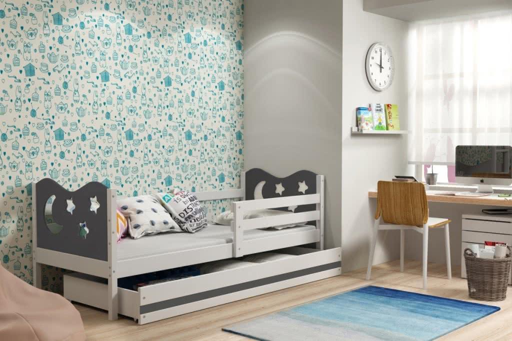 Dětská postel MIKO + ÚP + matrace + rošt ZDARMA, 90x200, bílý, grafitová