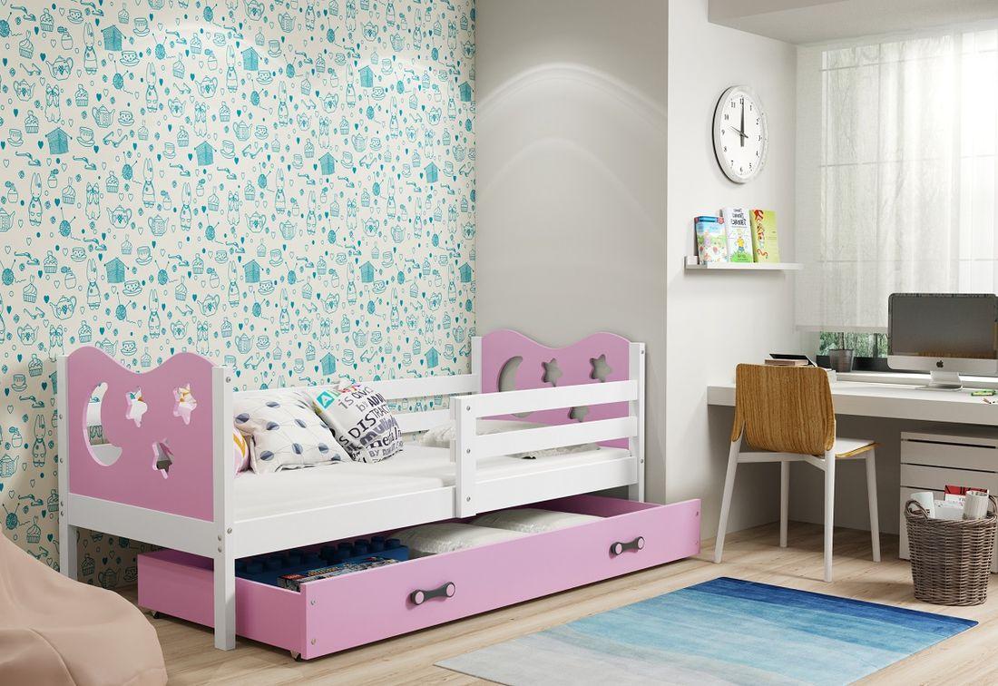 Dětská postel MIKO + ÚP + matrace + rošt ZDARMA, 90x200, bílý, růžová