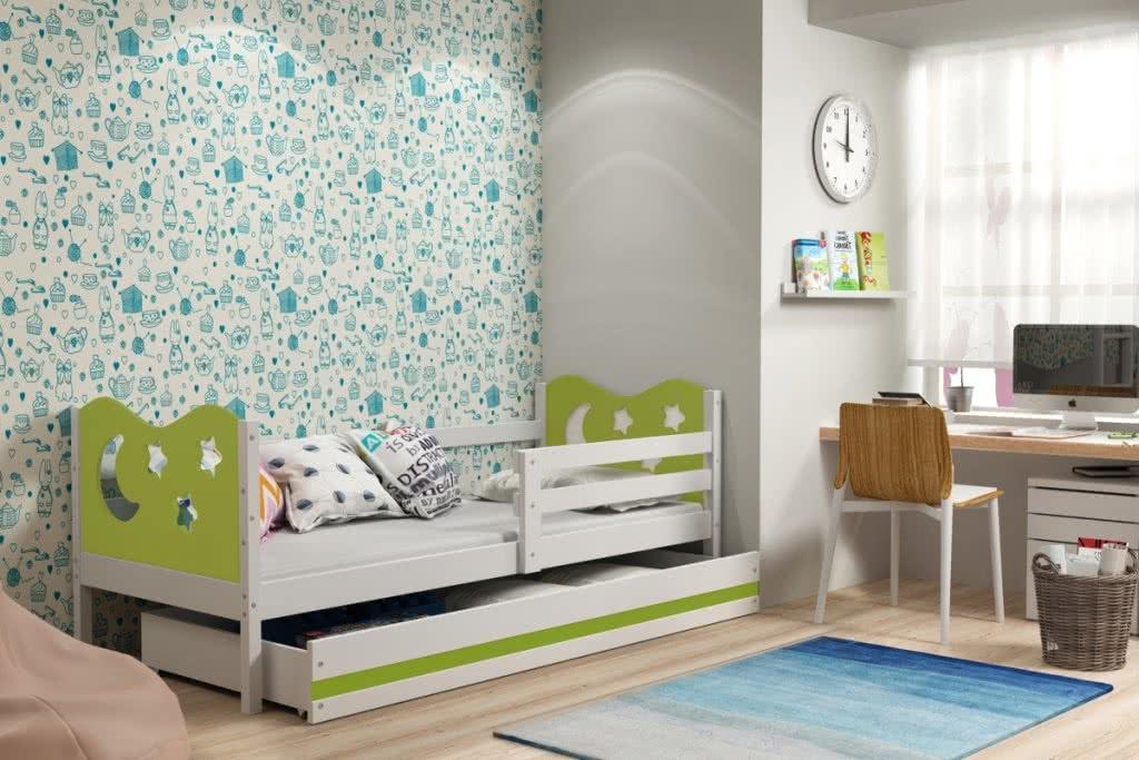 Dětská postel MIKO + ÚP + matrace + rošt ZDARMA, 90x200, bílý, zelená
