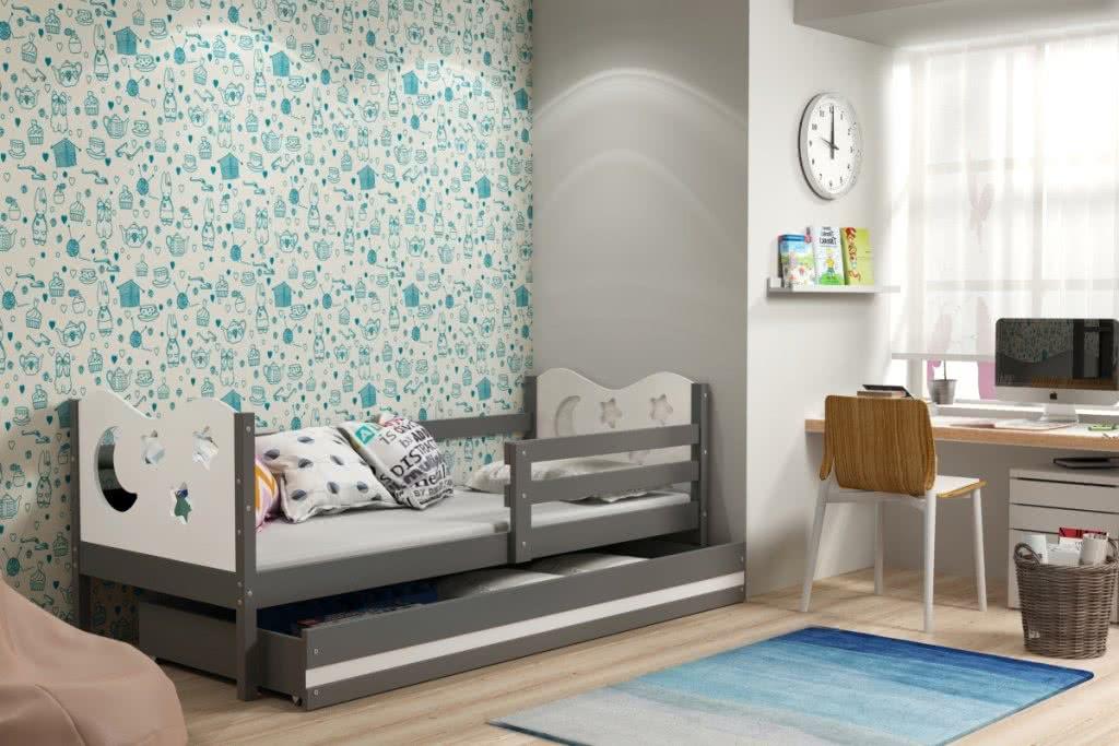 Dětská postel MIKO + ÚP + matrace + rošt ZDARMA, 90x200, grafit, bílá