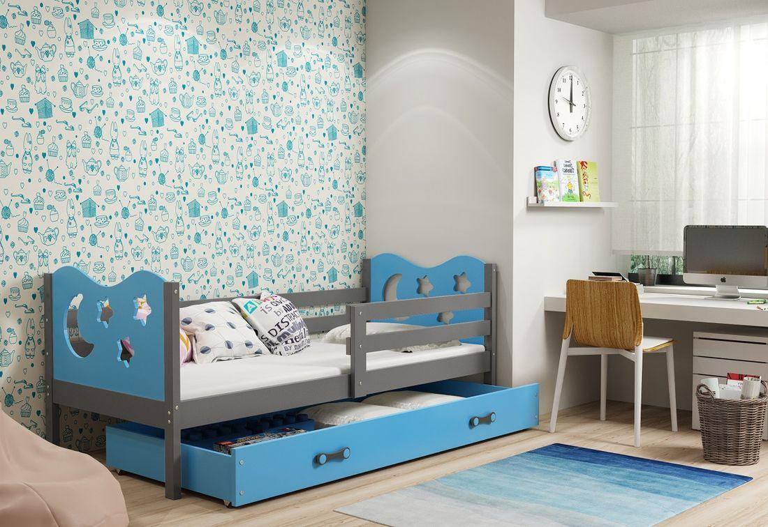 Dětská postel MIKO + ÚP + matrace + rošt ZDARMA, 90x200, grafit, blankytná