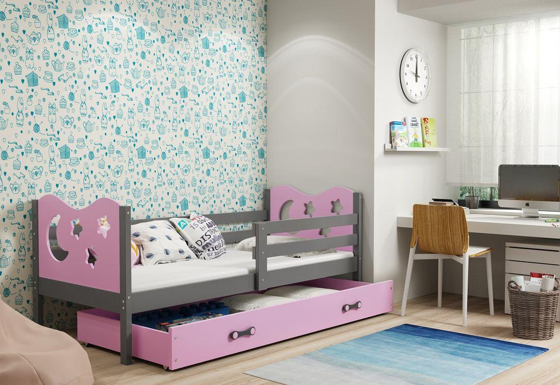 Dětská postel MIKO + ÚP + matrace + rošt ZDARMA, 90x200, grafit, růžová