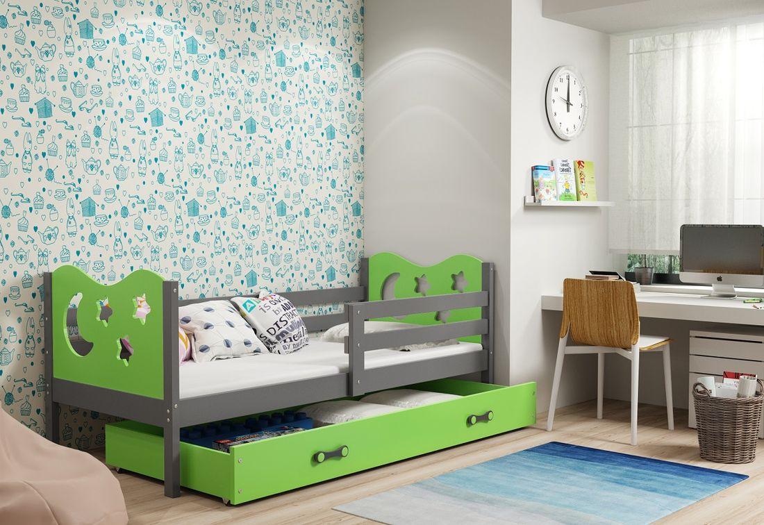 Dětská postel MIKO + ÚP + matrace + rošt ZDARMA, 90x200, grafit, zelená