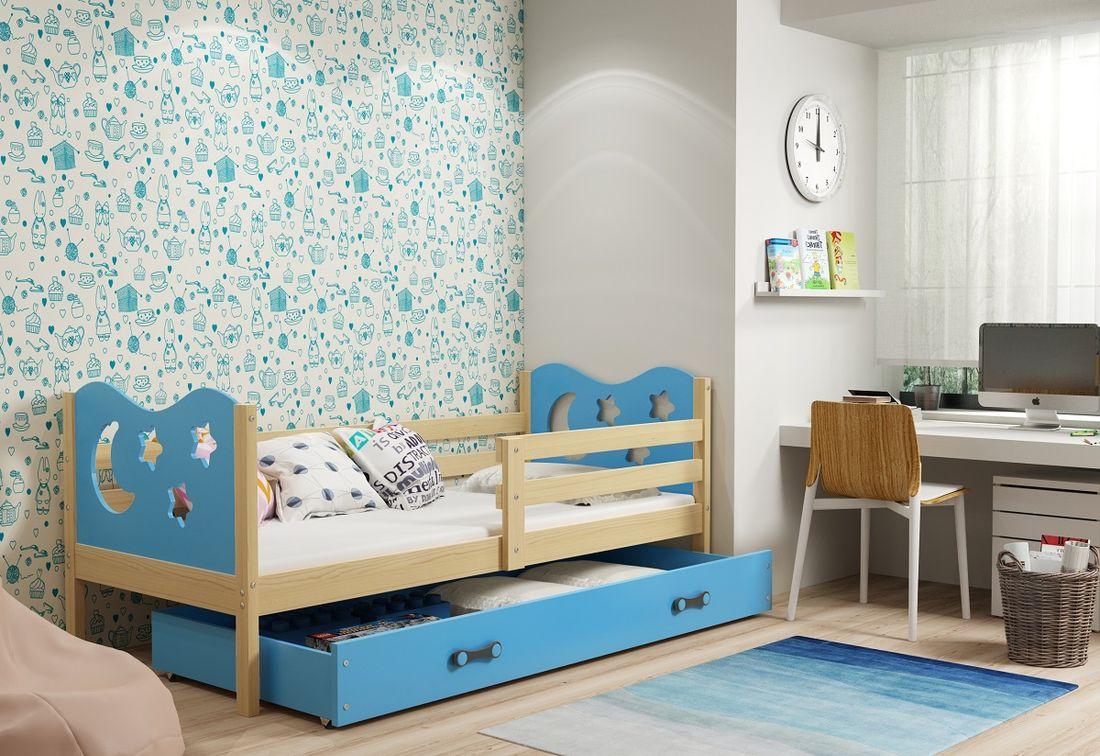 Dětská postel MIKO + ÚP + matrace + rošt ZDARMA, 90x200, borovice, blankytná