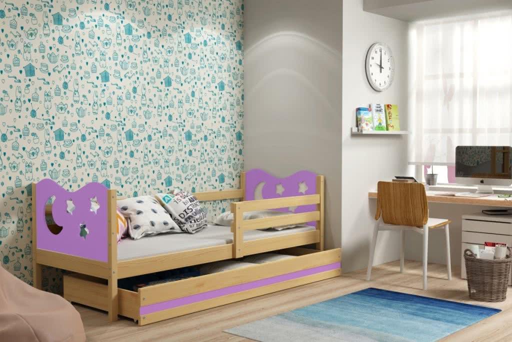 Dětská postel MIKO + ÚP + matrace + rošt ZDARMA, 90x200, borovice, fialová