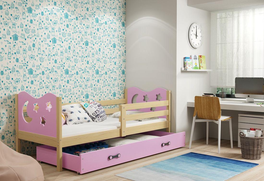 Dětská postel MIKO + ÚP + matrace + rošt ZDARMA, 90x200, borovice, růžová