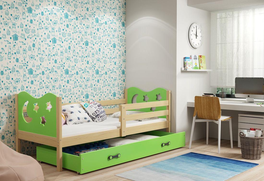 Dětská postel MIKO + ÚP + matrace + rošt ZDARMA, 90x200, borovice, zelená
