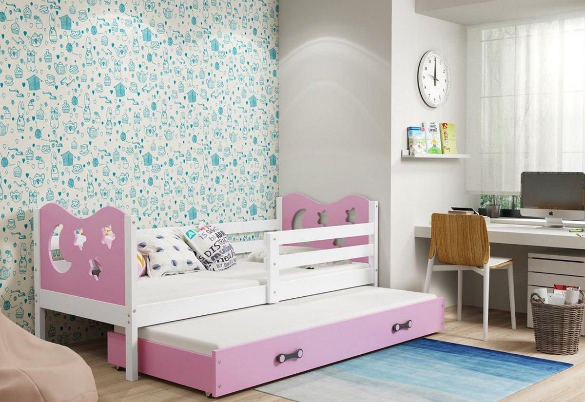 Dětská postel MIKO 2 + matrace + rošt ZDARMA, 80x190, bílý, růžová