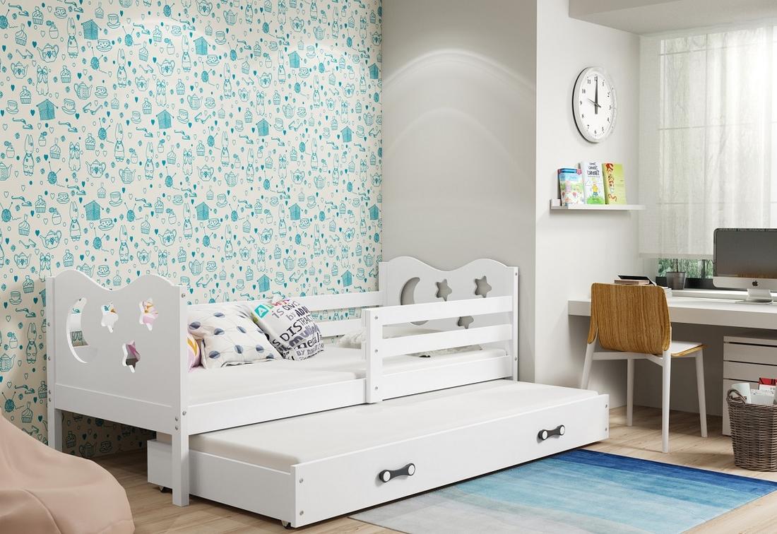 Dětská postel MIKO 2 + matrace + rošt ZDARMA, 90x200, bílý, bílá
