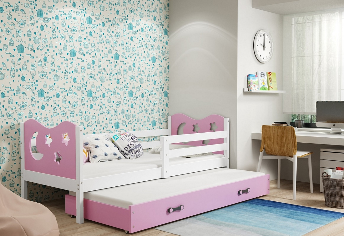Dětská postel MIKO 2 + matrace + rošt ZDARMA, 90x200, bílý, růžová