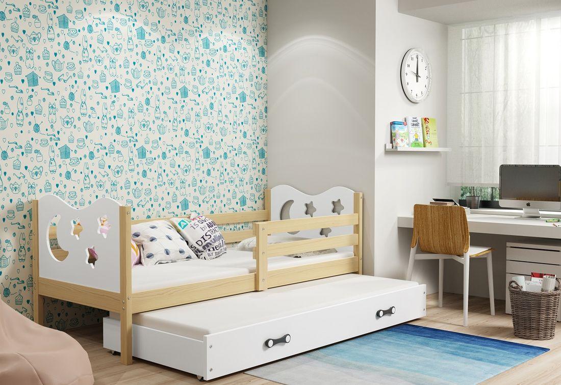 Dětská postel MIKO 2 + matrace + rošt ZDARMA, 90x200, borovice, bílá