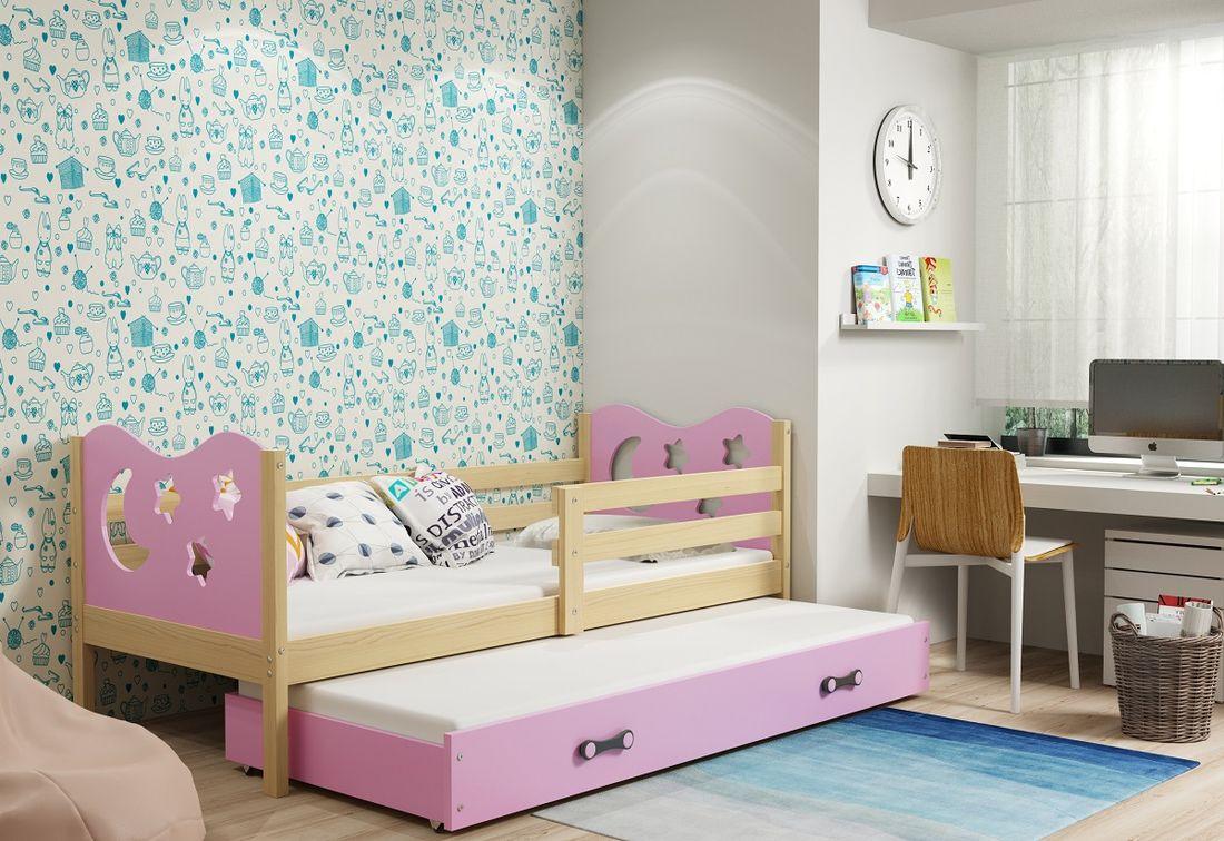 Dětská postel MIKO 2 + matrace + rošt ZDARMA, 90x200, borovice, růžová
