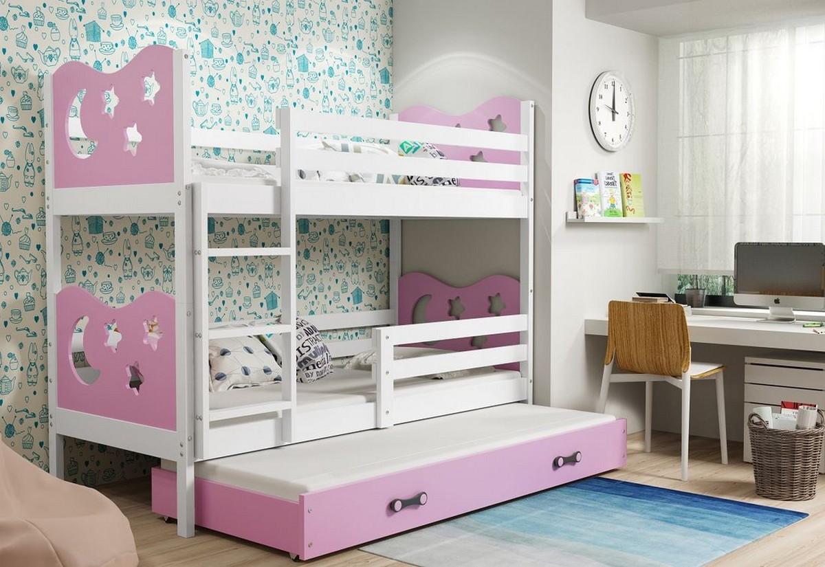 Patrová postel MIKO 3 + matrace + rošt ZDARMA, 80x160, bílý, růžová