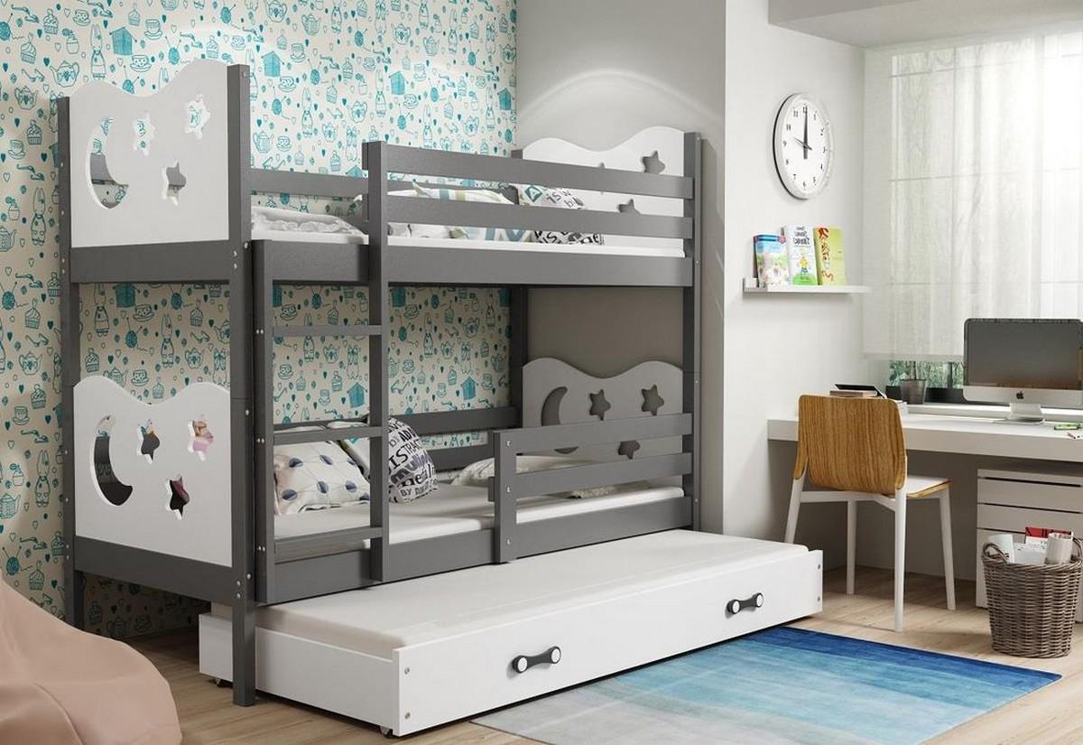 Patrová postel MIKO 3 + matrace + rošt ZDARMA, 80x190, grafit, bílá