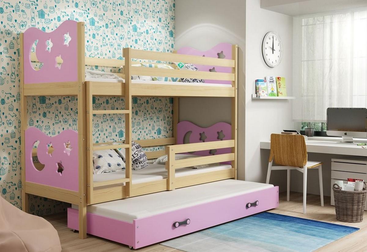 Patrová postel MIKO 3 + matrace + rošt ZDARMA, 80x190, borovice, růžová