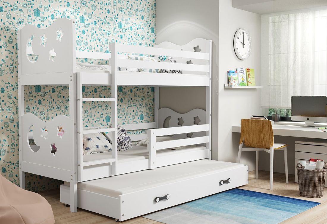 Patrová postel MIKO 3 + matrace + rošt ZDARMA, 90x200, bílý, bílá