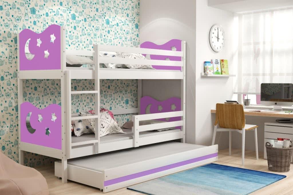 Patrová postel MIKO 3 + matrace + rošt ZDARMA, 90x200, bílý, fialová