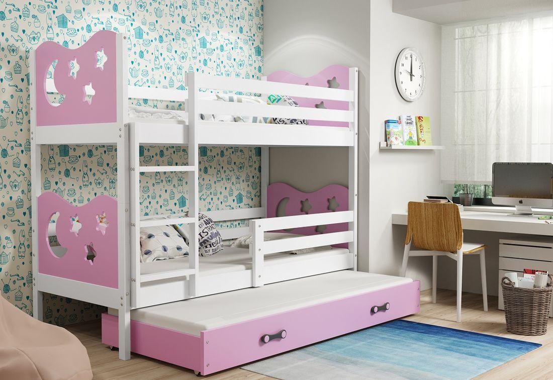 Patrová postel MIKO 3 + matrace + rošt ZDARMA, 90x200, bílý, růžová