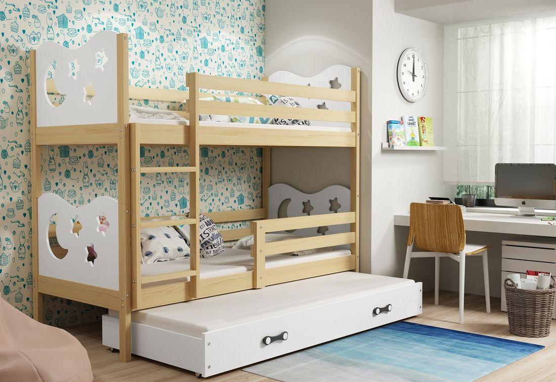 Patrová postel MIKO 3 + matrace + rošt ZDARMA, 90x200, borovice, bílá