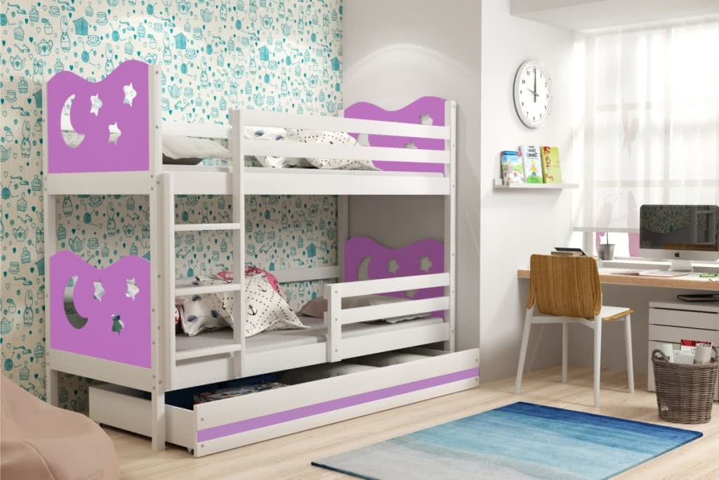 Patrová postel MIKO 2 + ÚP + matrace + rošt ZDARMA, 80x190, bílý, fialová