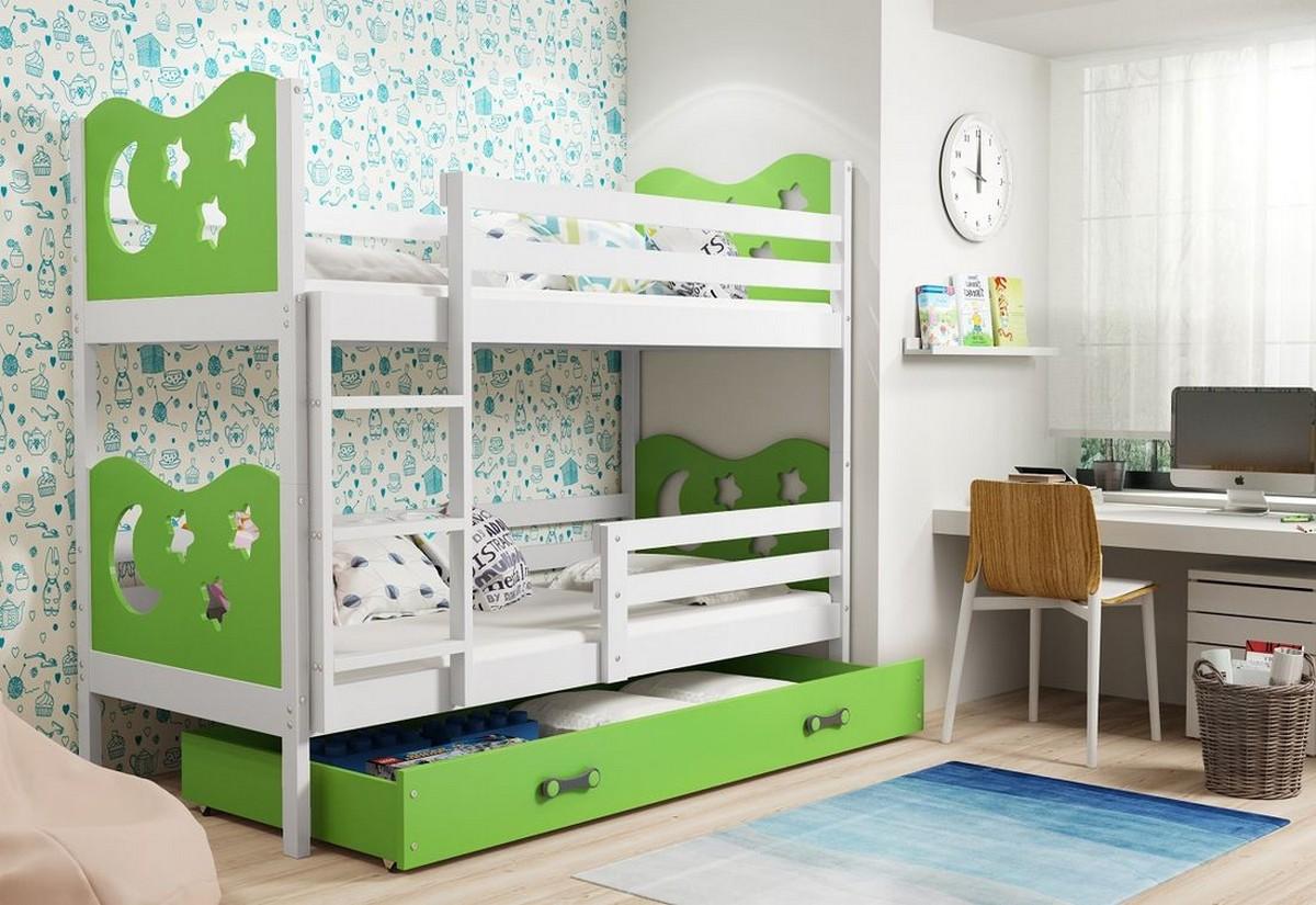 Patrová postel MIKO 2 + ÚP + matrace + rošt ZDARMA, 80x190, bílý, zelená