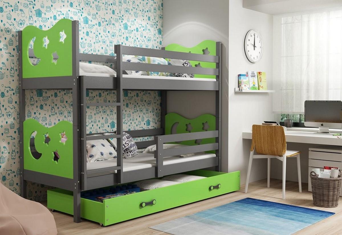 Patrová postel MIKO 2 + ÚP + matrace + rošt ZDARMA, 80x190, grafit, zelená