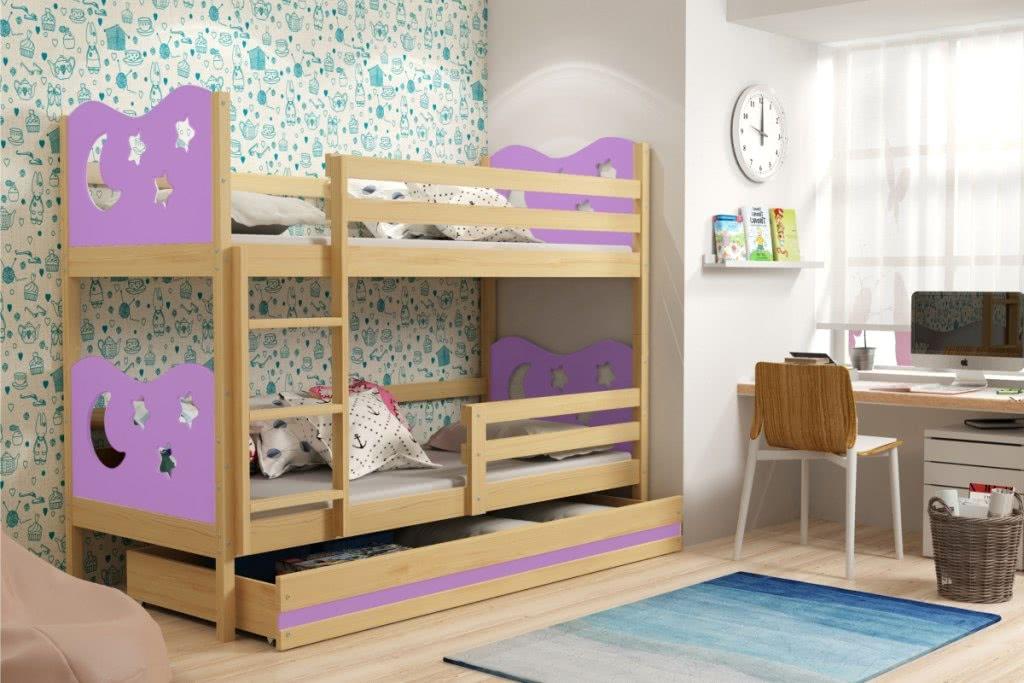 Patrová postel MIKO 2 + ÚP + matrace + rošt ZDARMA, 80x190, borovice, fialová