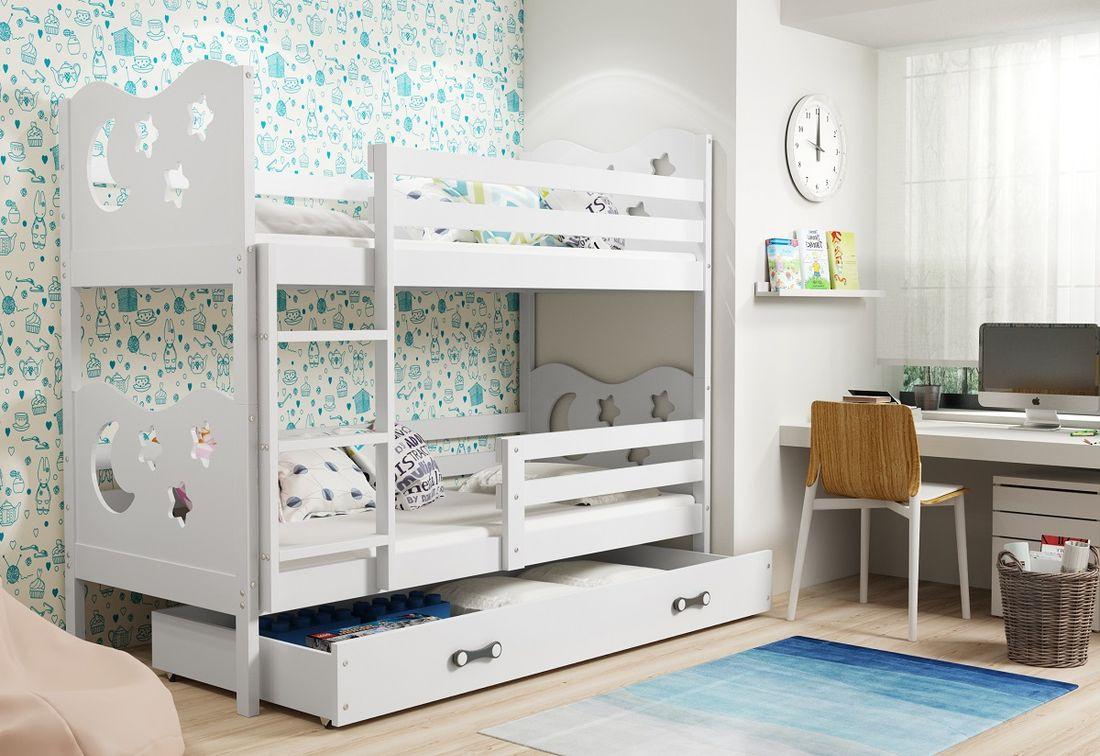 Patrová postel MIKO 2 + ÚP + matrace + rošt ZDARMA, 90x200, bílý, bílá