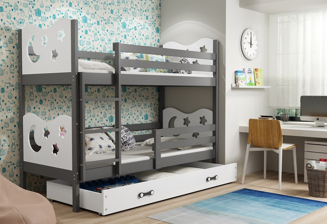 Patrová postel MIKO 2 + ÚP + matrace + rošt ZDARMA, 90x200, grafit, bílá