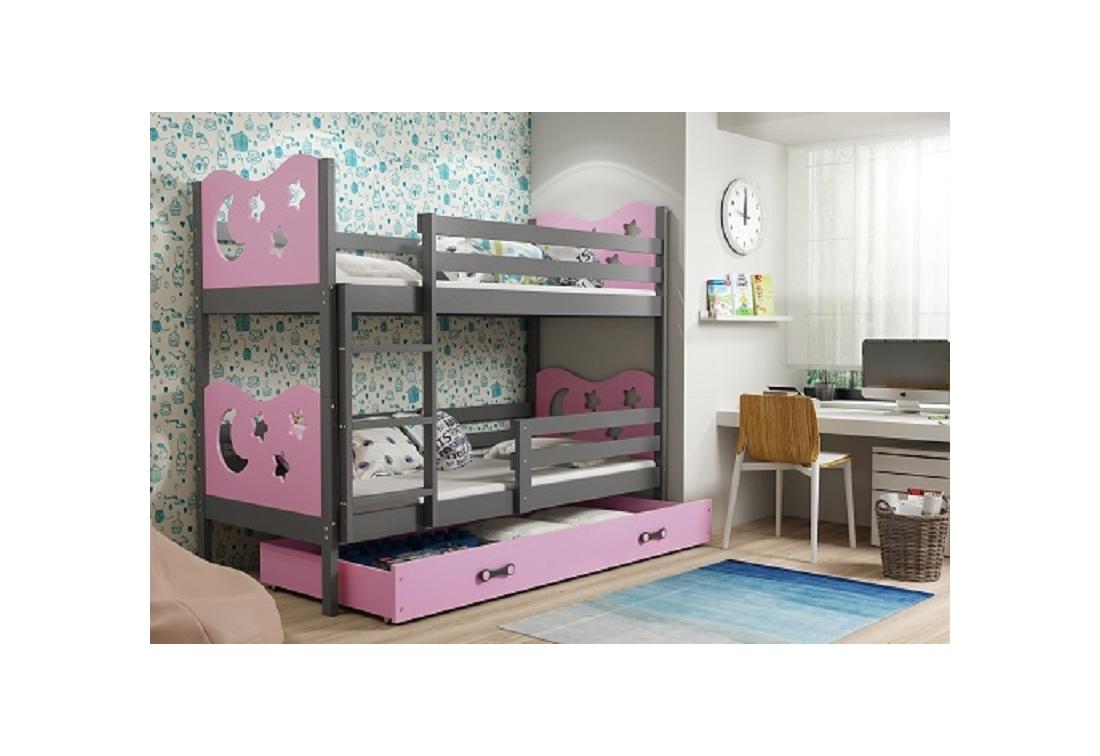 Patrová postel MIKO 2 + ÚP + matrace + rošt ZDARMA, 90x200, grafit, růžová