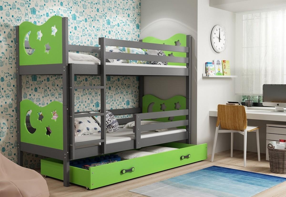Patrová postel MIKO 2 + ÚP + matrace + rošt ZDARMA, 90x200, grafit, zelená