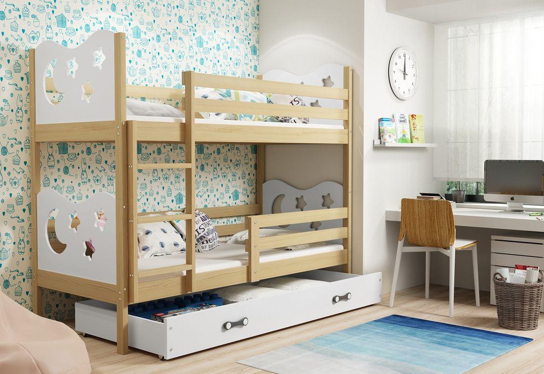 Patrová postel MIKO 2 + ÚP + matrace + rošt ZDARMA, 90x200, borovice, bílá