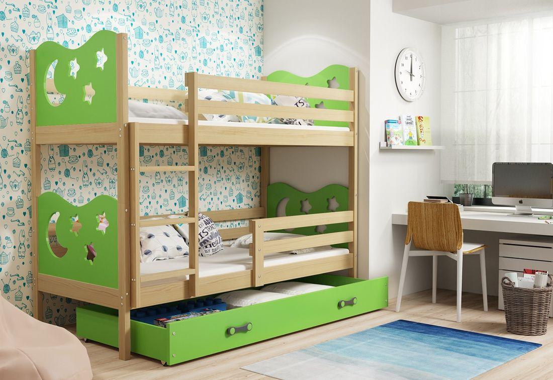 Patrová postel MIKO 2 + ÚP + matrace + rošt ZDARMA, 90x200, borovice, zelená