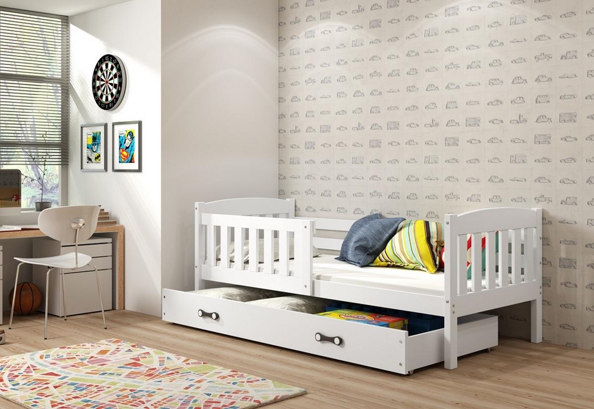 Dětská postel KUBUS + ÚP + matrace + rošt ZDARMA, 80x160, bílý, bílá