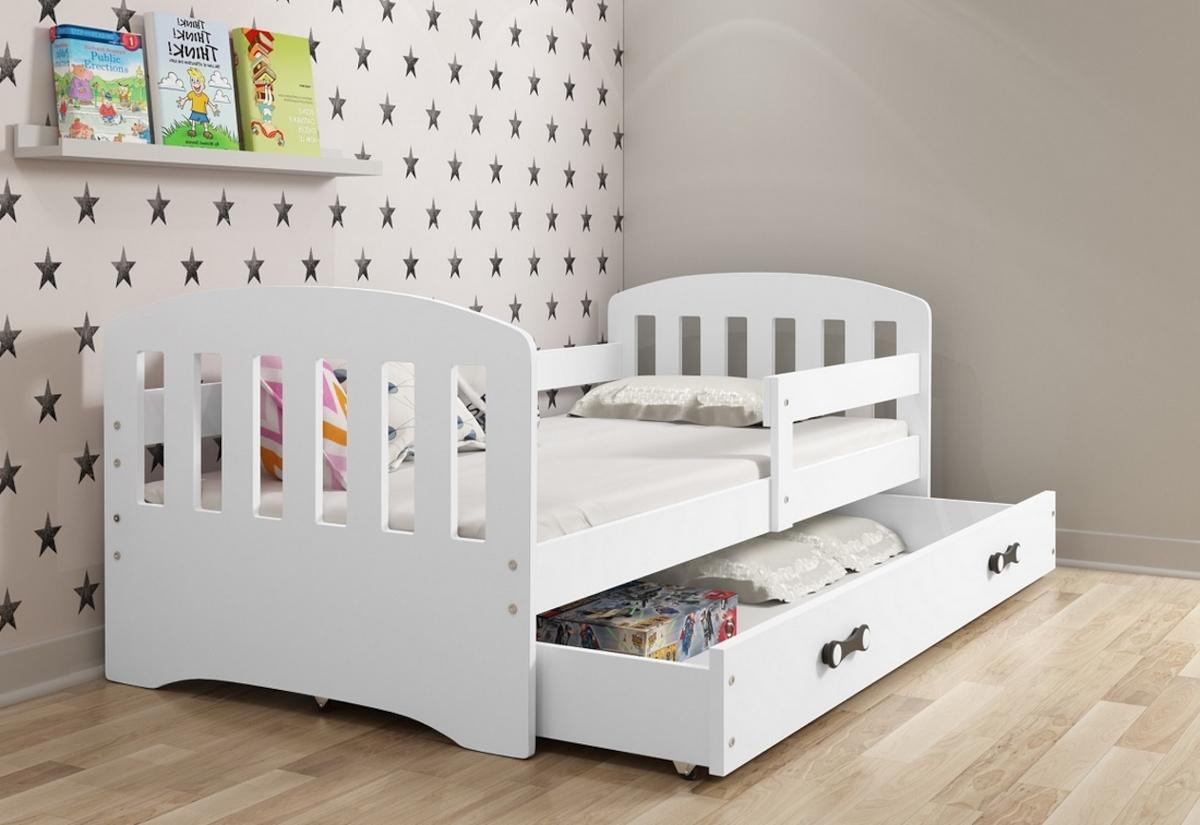Dětská postel CLASSIC + ÚP + matrace + rošt ZDARMA, 80x160, bílý, bílá