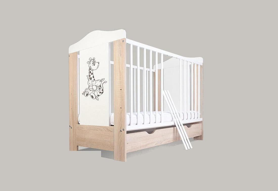 Dětská postýlka BAMBINO ŽIRAFKA, bez úložného prostoru, dub sonoma, 120 x 60