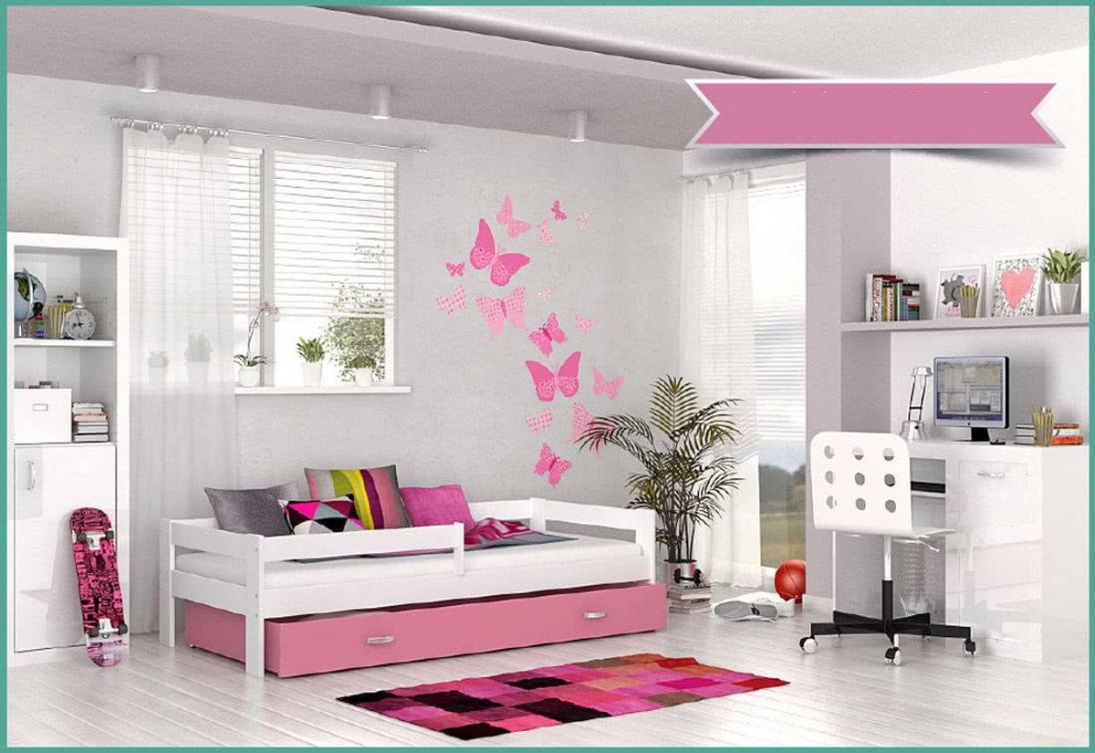 Dětská postel HUGO s barevnou zásuvkou+matrace, 80x160, bílý/růžový