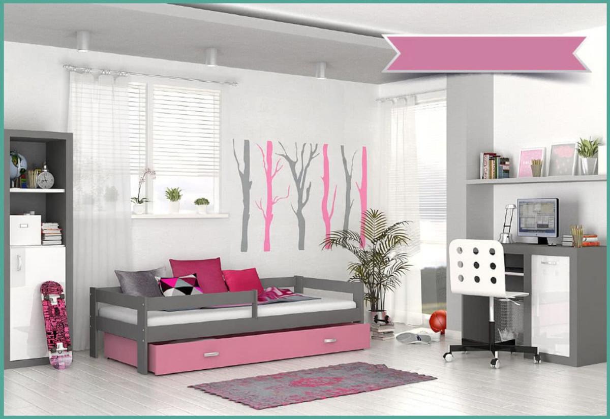 Dětská postel HUGO s barevnou zásuvkou+matrace, 80x160, šedý/růžový