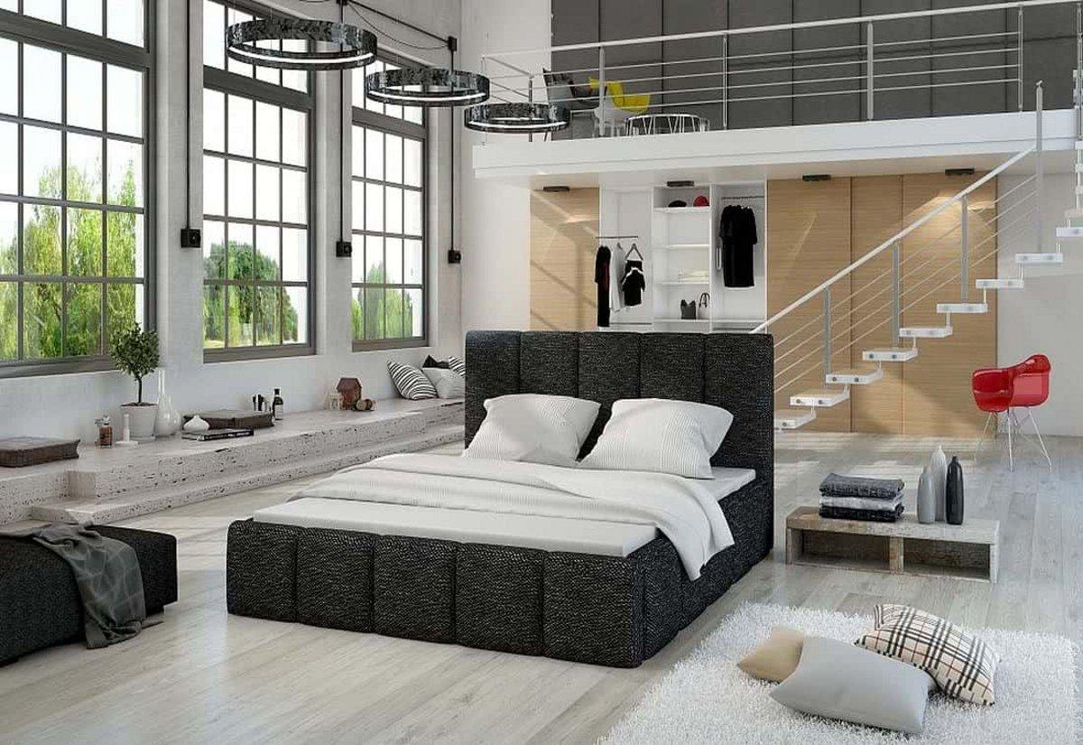 Čalouněná postel EDVIGE + Matrace s roštem HELVETIA 140x200, 140x200, berlin02